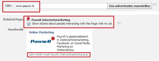 Facebook Adverteren: Related Page optie