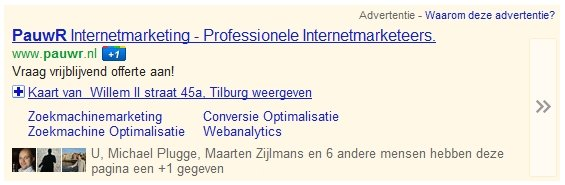 Google Plus One AdWords advertentie PauwR