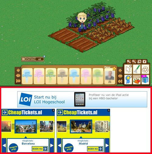 Advertenties binnen Farmville op Facebook