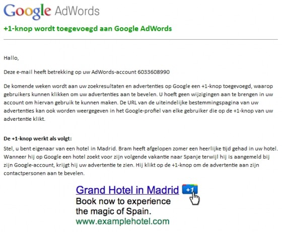 Google Plus One AdWords e-mail