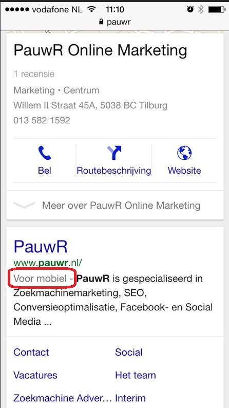 Google's mobile-friendly label: Voor mobiel